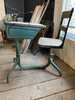 Vintage School Desk with Attached Swivel Chair