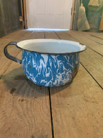 Vintage Blue & White Enamelware Pot with Handle