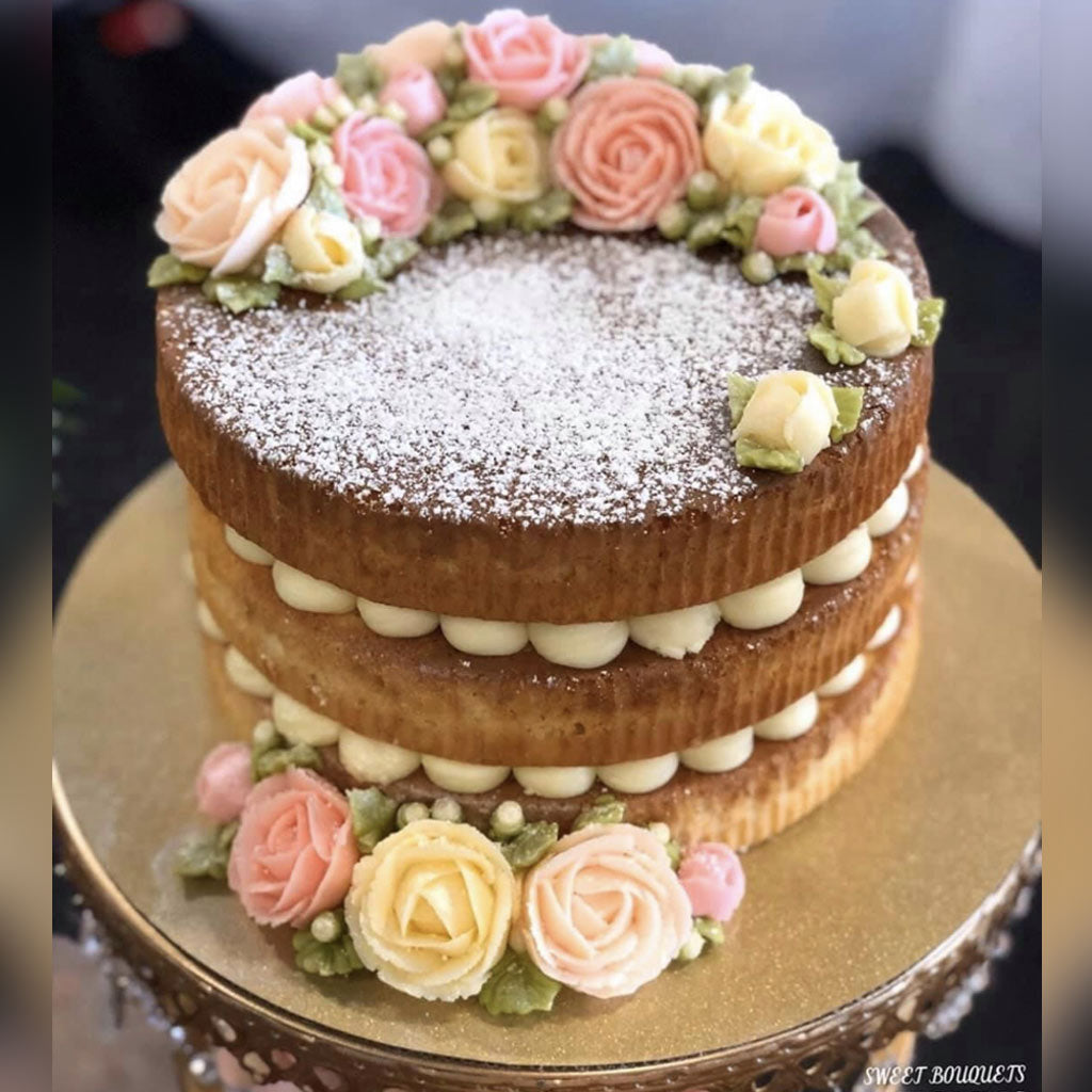 "9"" Vanilla Naked Cake with Pastel Roses - Feeds 12-19 People 
