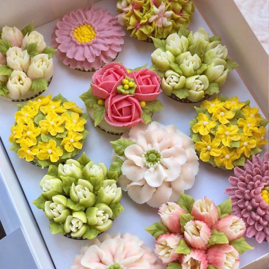 Assorted Floral & Succulent Cupcakes in Box | SweetBouquetsCupcakes.com