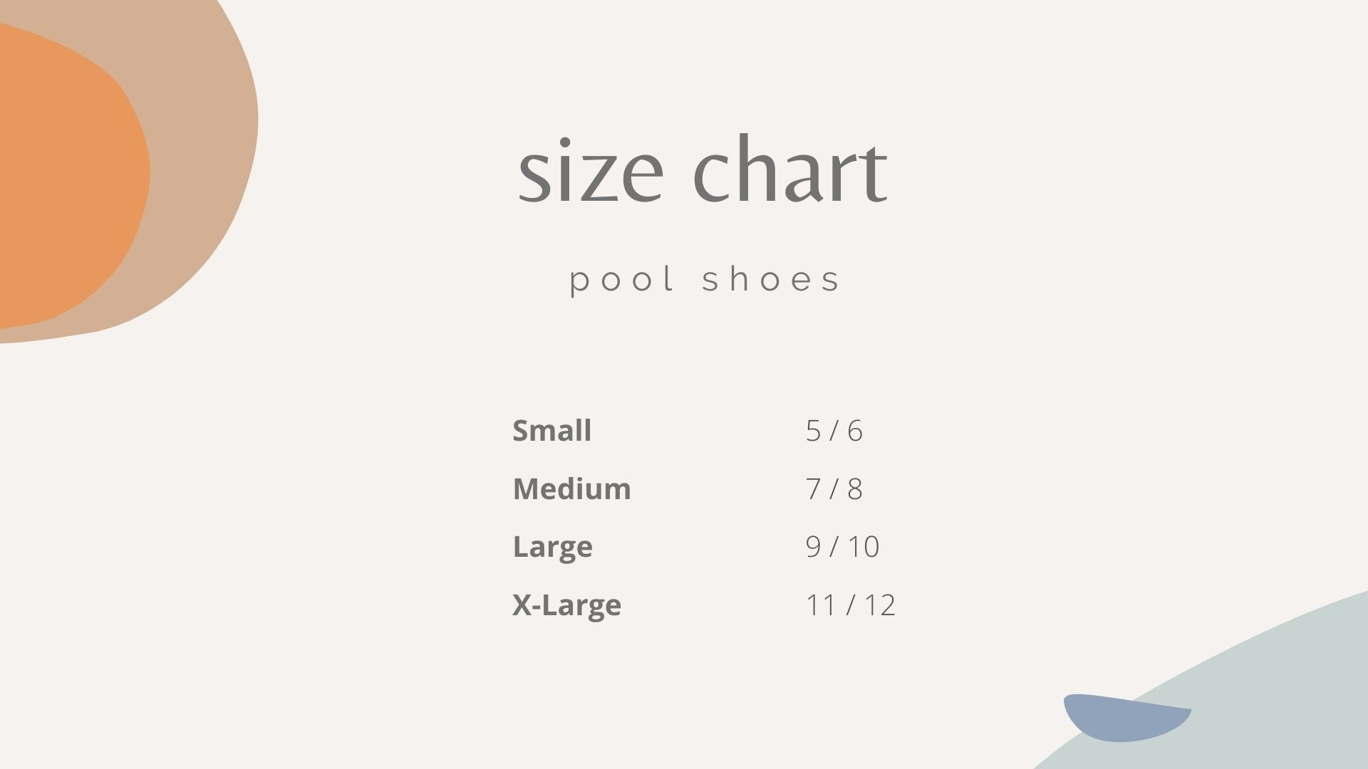 size chart for pool shoes