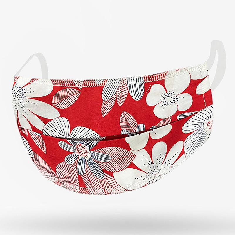 Adult Mask Red Floral