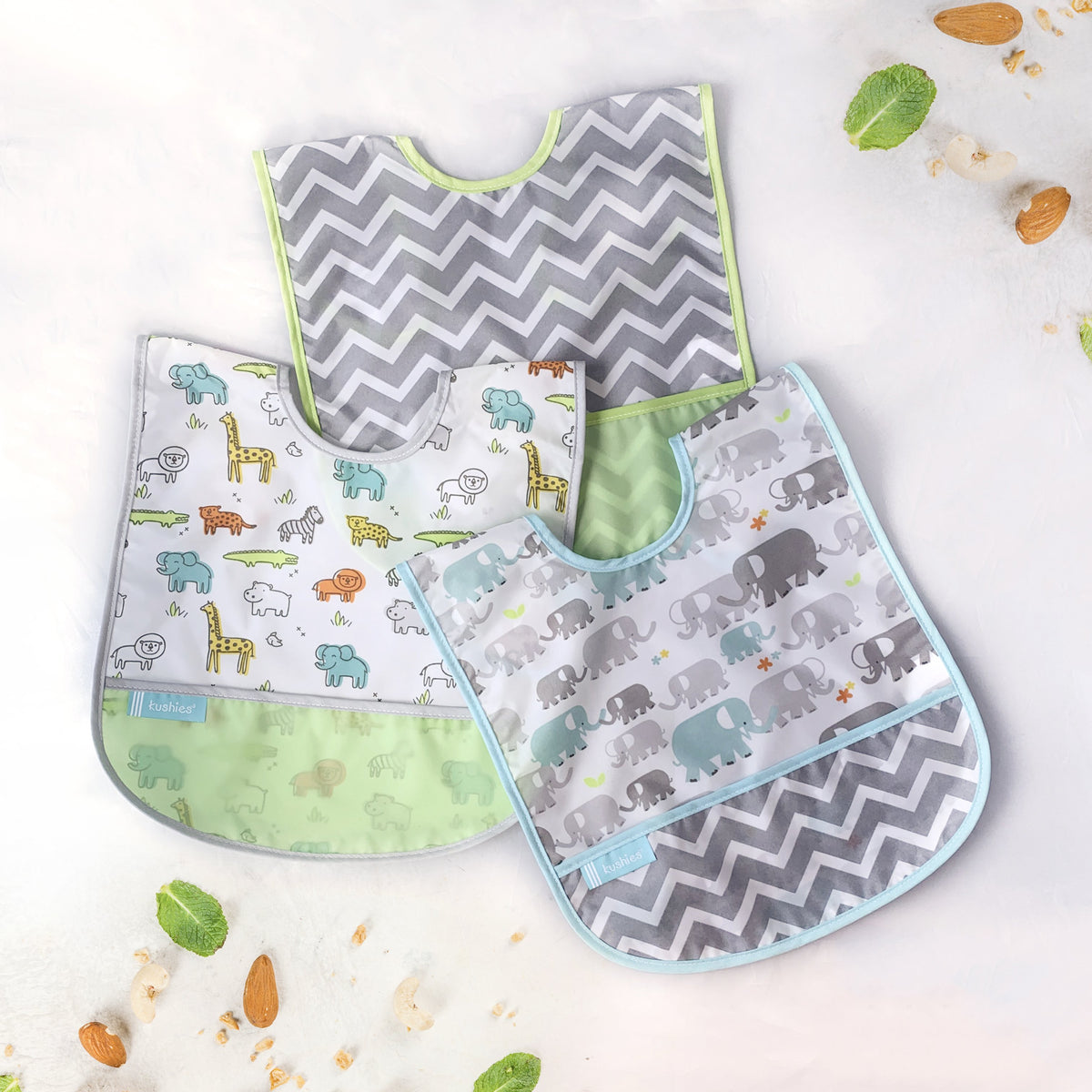 Cleanbib 3-pack | Elephant - Safari - Green Chevron