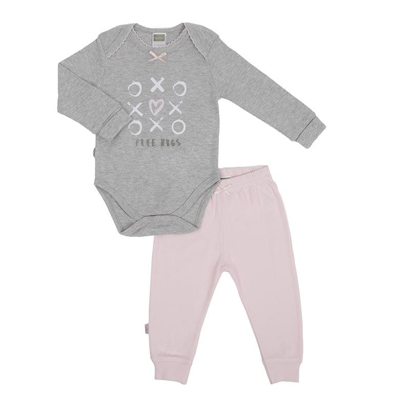 Hello World LS Bodysuit & Pant Set | Heather Lt. Grey | Girl