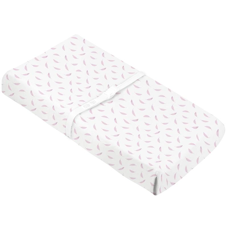 Organic Change Pad Sheet w- Slits for Safety Straps Pink Feathers