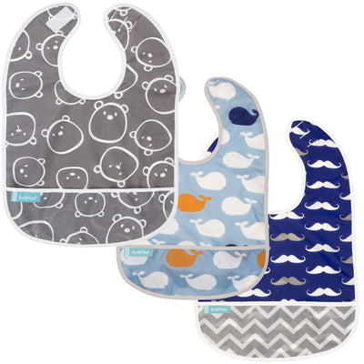 Charcoal Bears + Blue Whales + Navy Moustache | Cleanbib 3pack