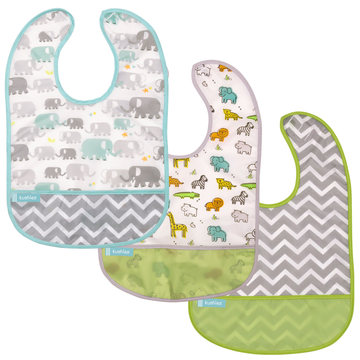 White Elephants + White Little Safari + Green Chevron | Cleanbib 3pack