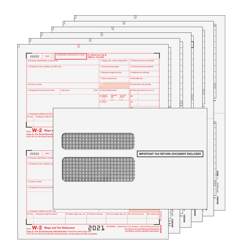 W2: 6 Part Set with Self Seal Envelopes for 25 Employees