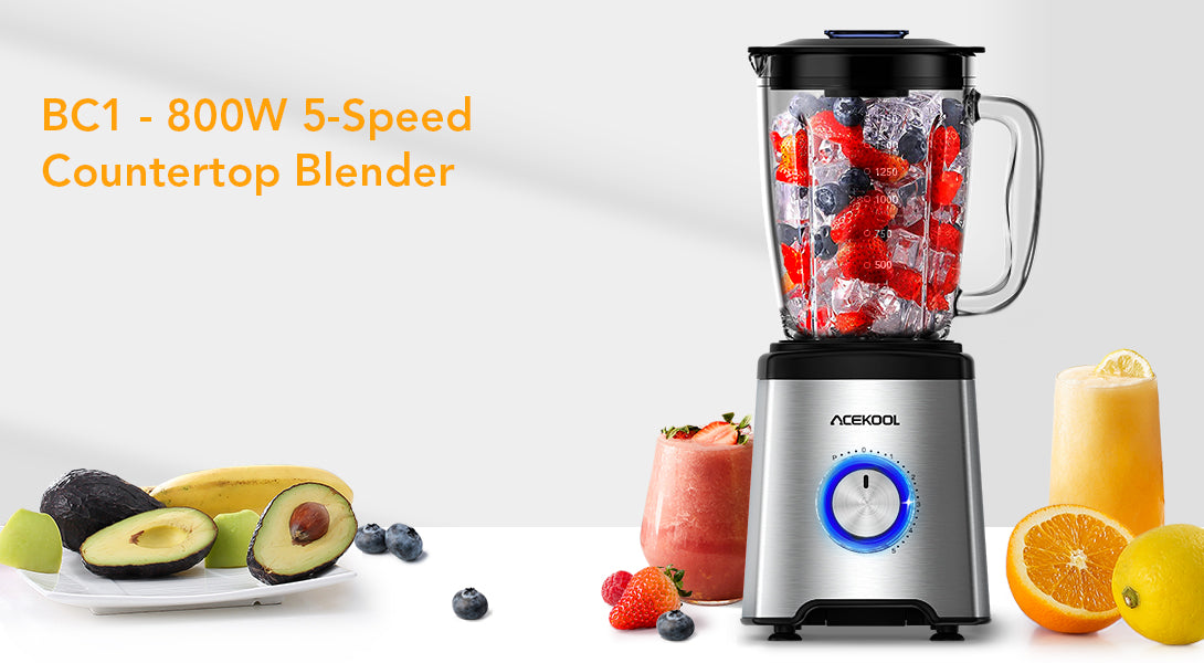 Acekool® Ice Crusher blender BC1 with 60oz capacity, crush, chop, and make smoothie bowls and dough conveniently.