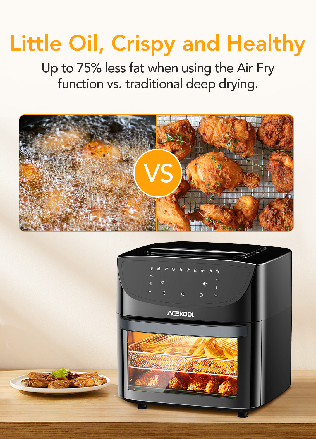 Healthy cook with less oil using Acekool Air Fryer FT1