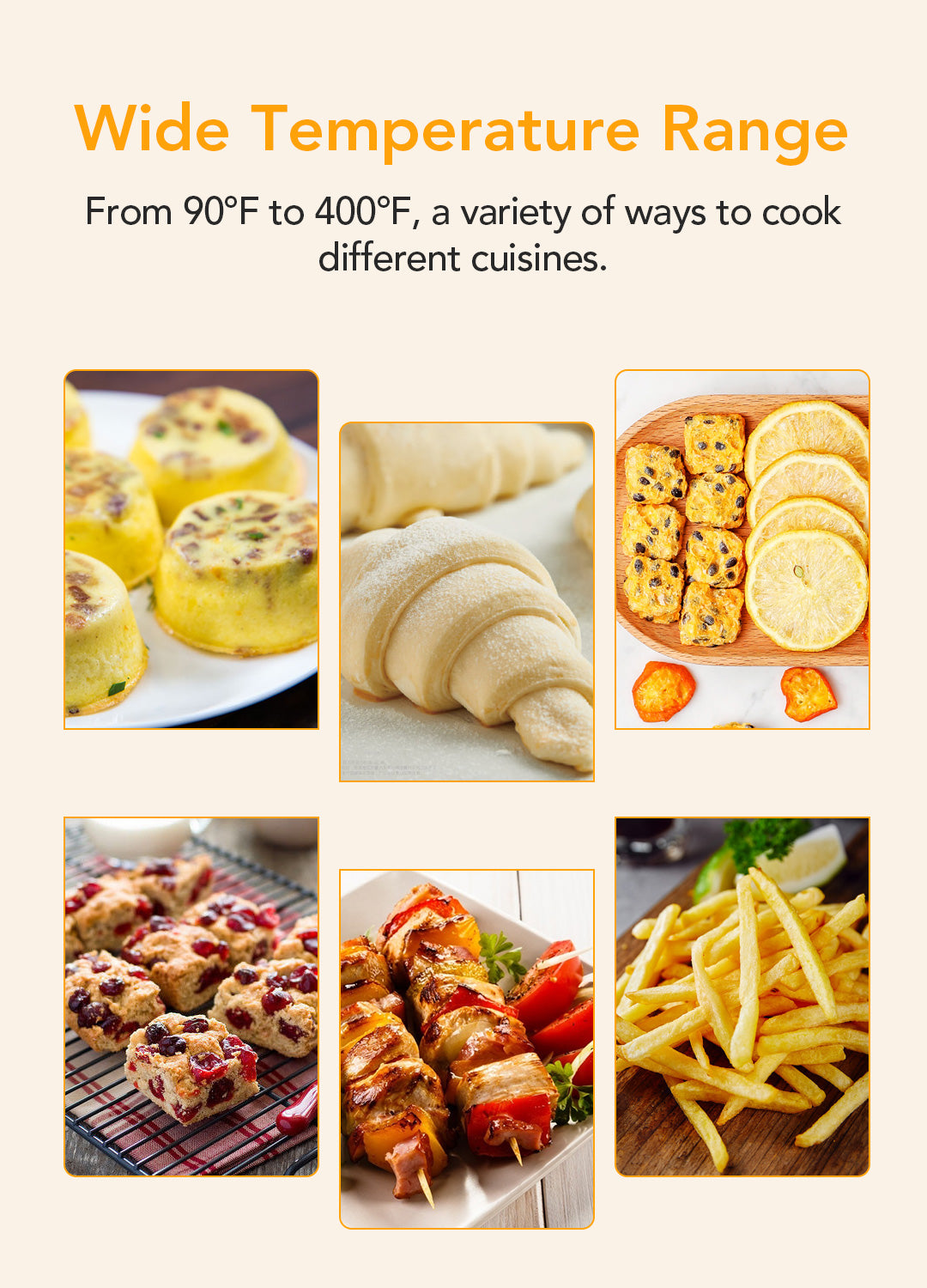 Acekool Air Fryer FT1 ranges from 90°F to 400°F