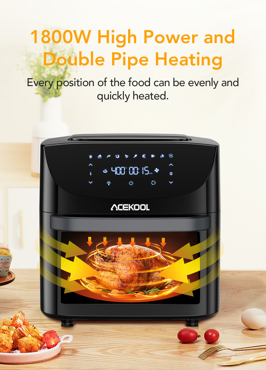 Acekool Air Fryer FT1 comes with 7 parts
