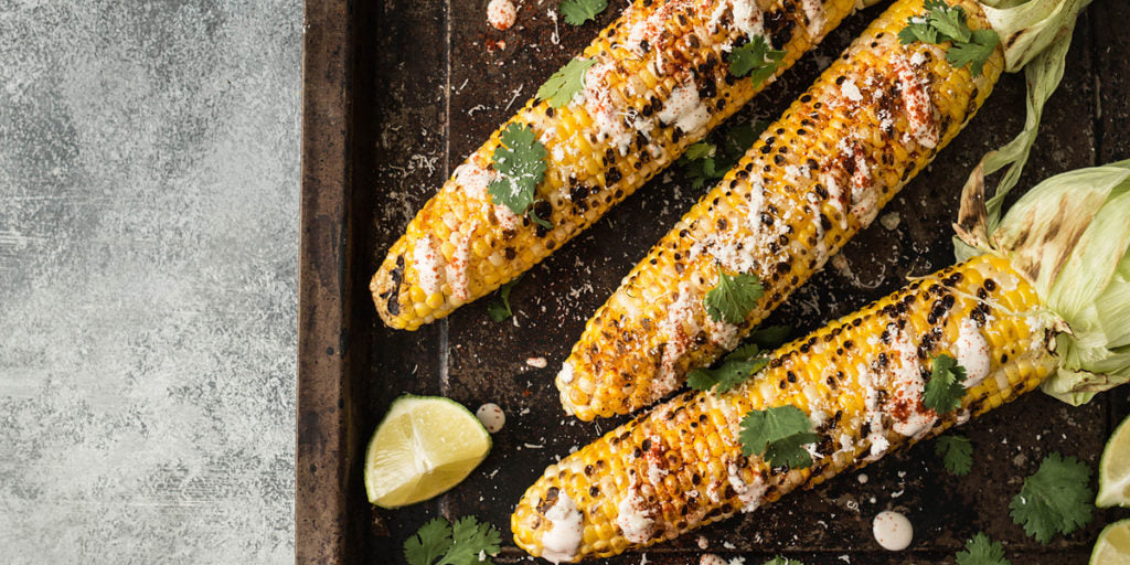 Grilled Corn with Lime and Feta Cheese