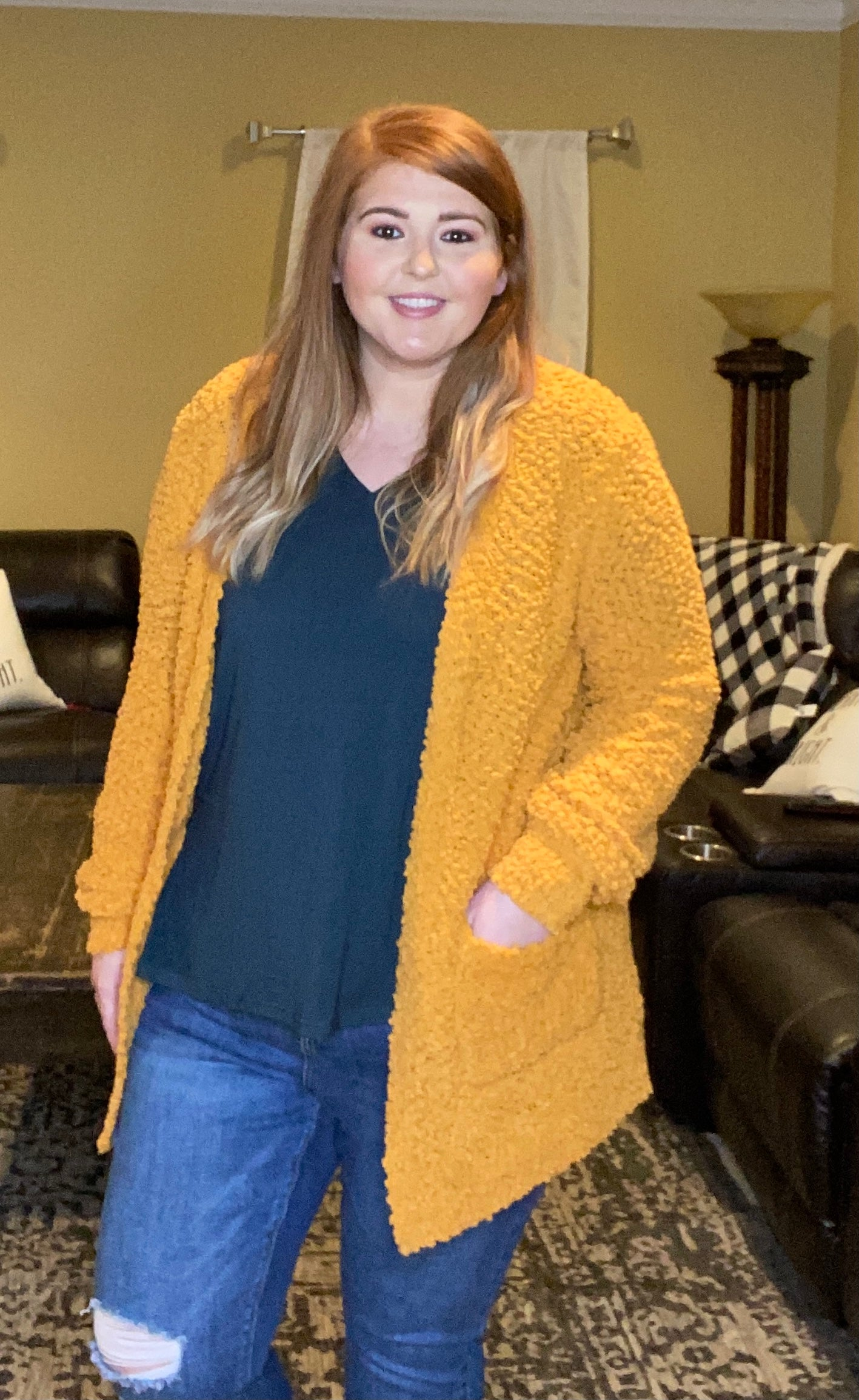 Always Friends Popcorn Cardigan - Ash Mustard