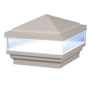 "5"" x 5"" Haven Scallop Lens Low Voltage LED Light Post Cap (Box of 8)"