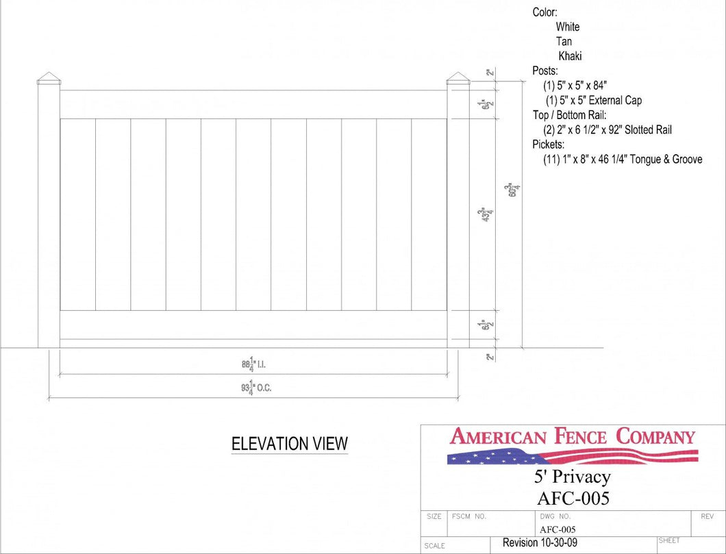 AFC-005   5' Tall x 8' Wide Privacy Fence