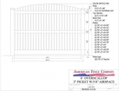 "AFC-012   6' Tall x 8' Wide Overscallop Fence with 5/8"" Air Space - White"