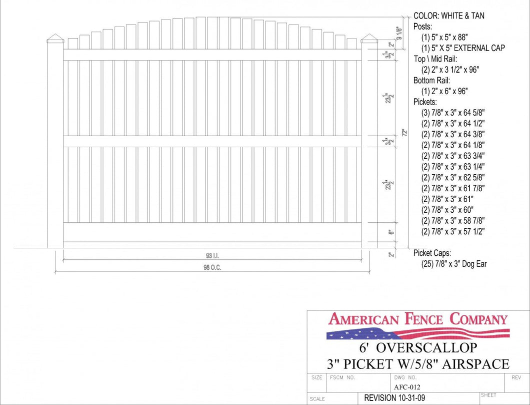 AFC-012   6' Tall x 8' Wide Overscallop Fence with 5/8