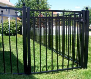 7' Aluminum Ornamental Single Swing Gate - Flat Top Series C - No Arch