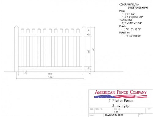 "K-15   4' Tall x 6' Wide Picket Fence with 3"" Air Space - White"