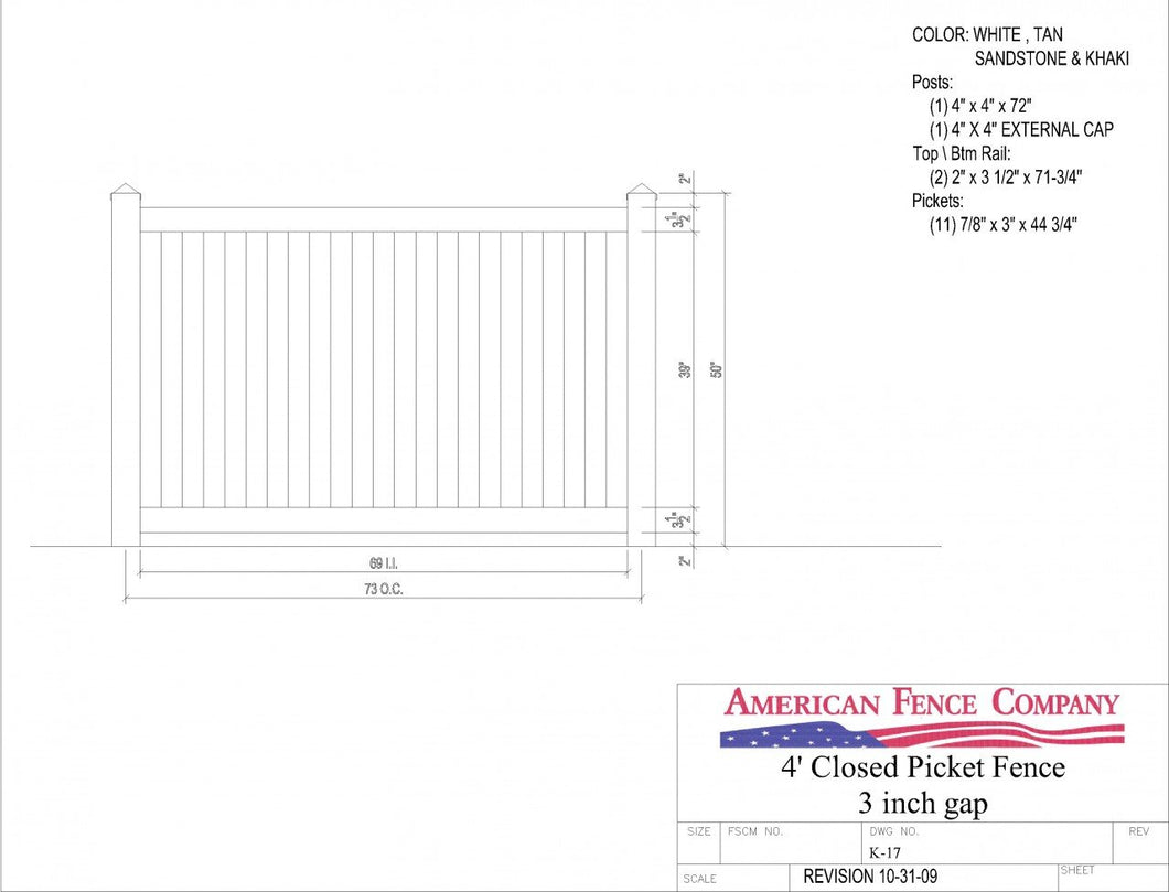 K-17   4' Tall x 6' Wide Closed Picket Fence with 3