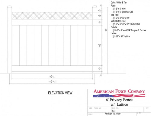 K-31   6' Tall x 8' Wide Privacy Fence with Lattice Accent - White