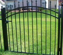 3 rail spear top single swing gate with arch