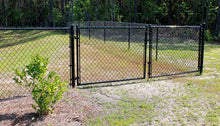 Residential Black Chain Link Double Drive Gate