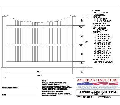 AFC-013   6' Tall x 8' Wide Underscallop Fence with 5/8
