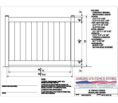 AFC-025   6' Tall x 8' Wide Privacy Fence Woodlands Series