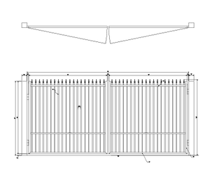Flat Top Drive Gate with Quad Flare Finials