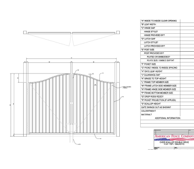 "96"" x 48"" Overscallop Flat Top Double Drive Gate"