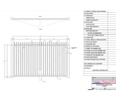 "96"" x 60"" Spear Top Double Drive Gate"