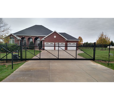Aluminum Ornamental Flat or Spear Top 6' tall Slide Gate - 12' opening 18' overall / Spear top