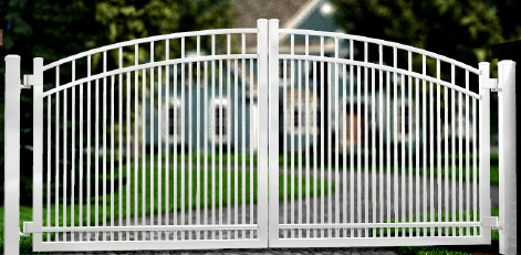 Black Over Arch Sunburst Aluminum Double Drive Gate