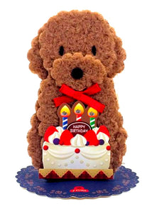 Brown Poodle And Birthday Cake