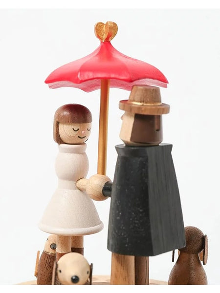 lovers under red umbrella with pets