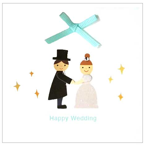 happy wedding couple with big blue bow