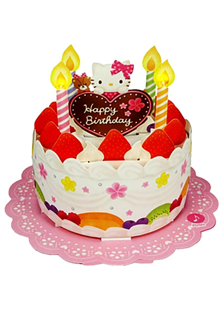 Hello Kitty Birthday Cake Card With Candles And Strawberries