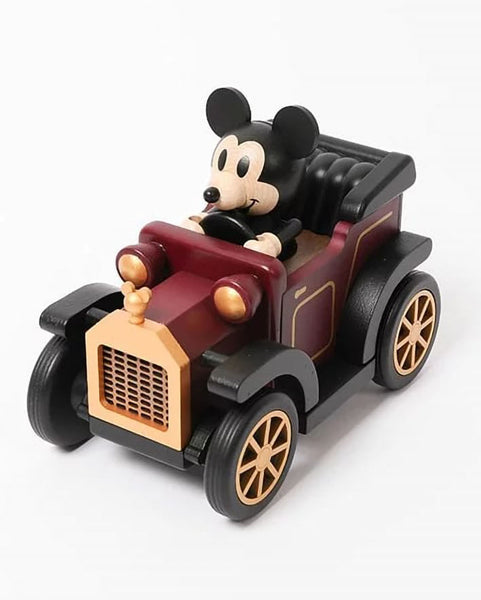 mickey mouse driving a classic car