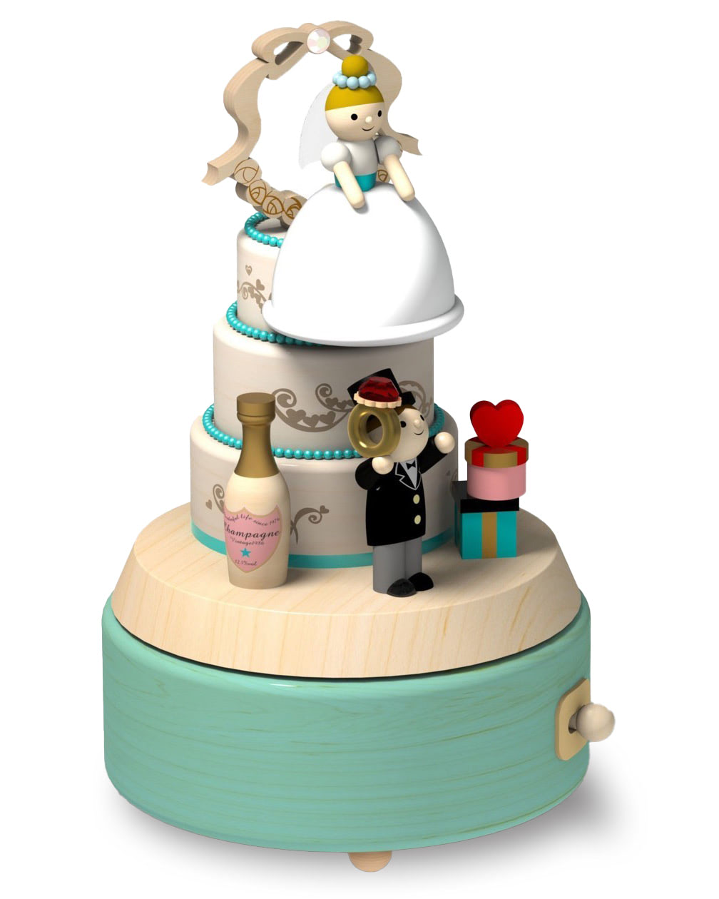 newlywed bride on top of a cake with gifts and champagne