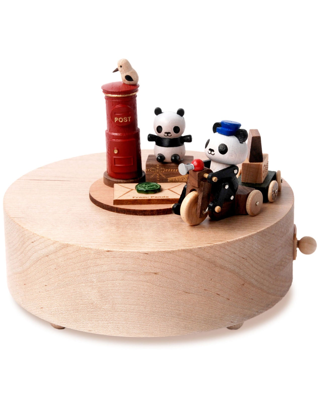 panda mailman delivering mail and red mailbox