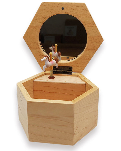 rotating pony mirror music jewellery box