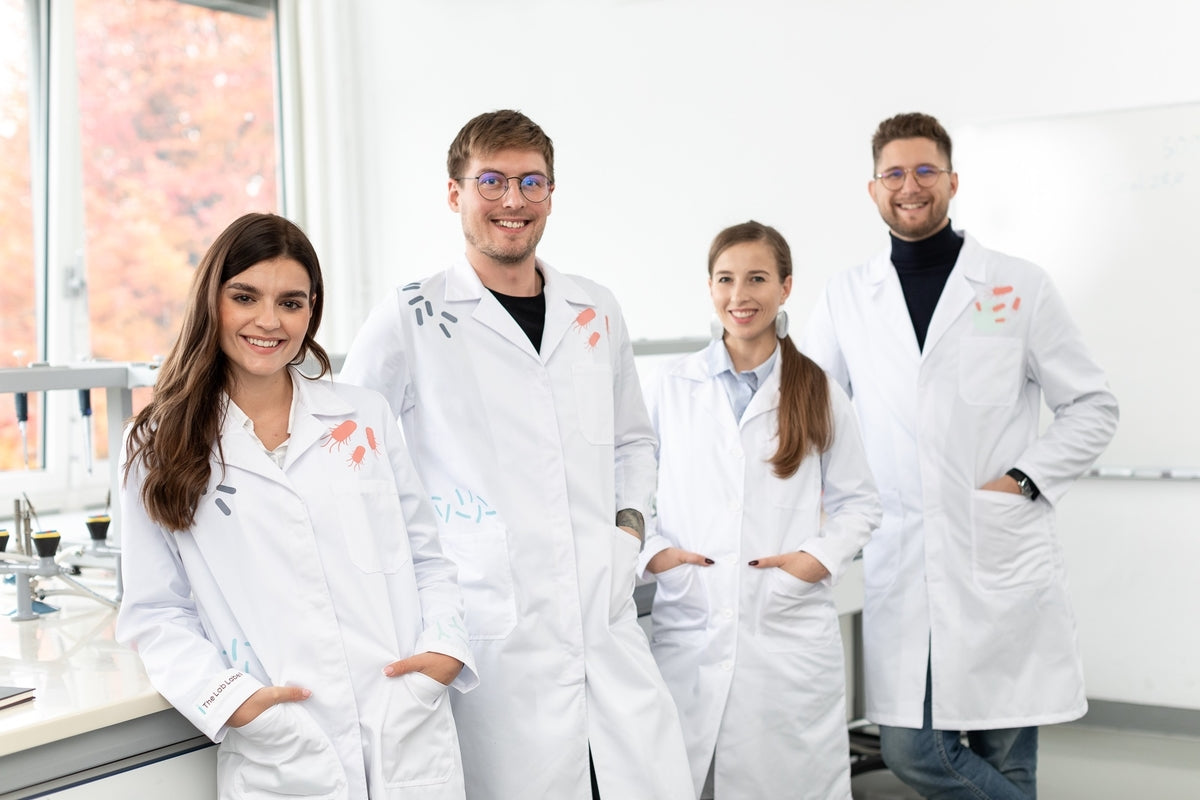 A group of scientists protected by The Lab Label lab coats.