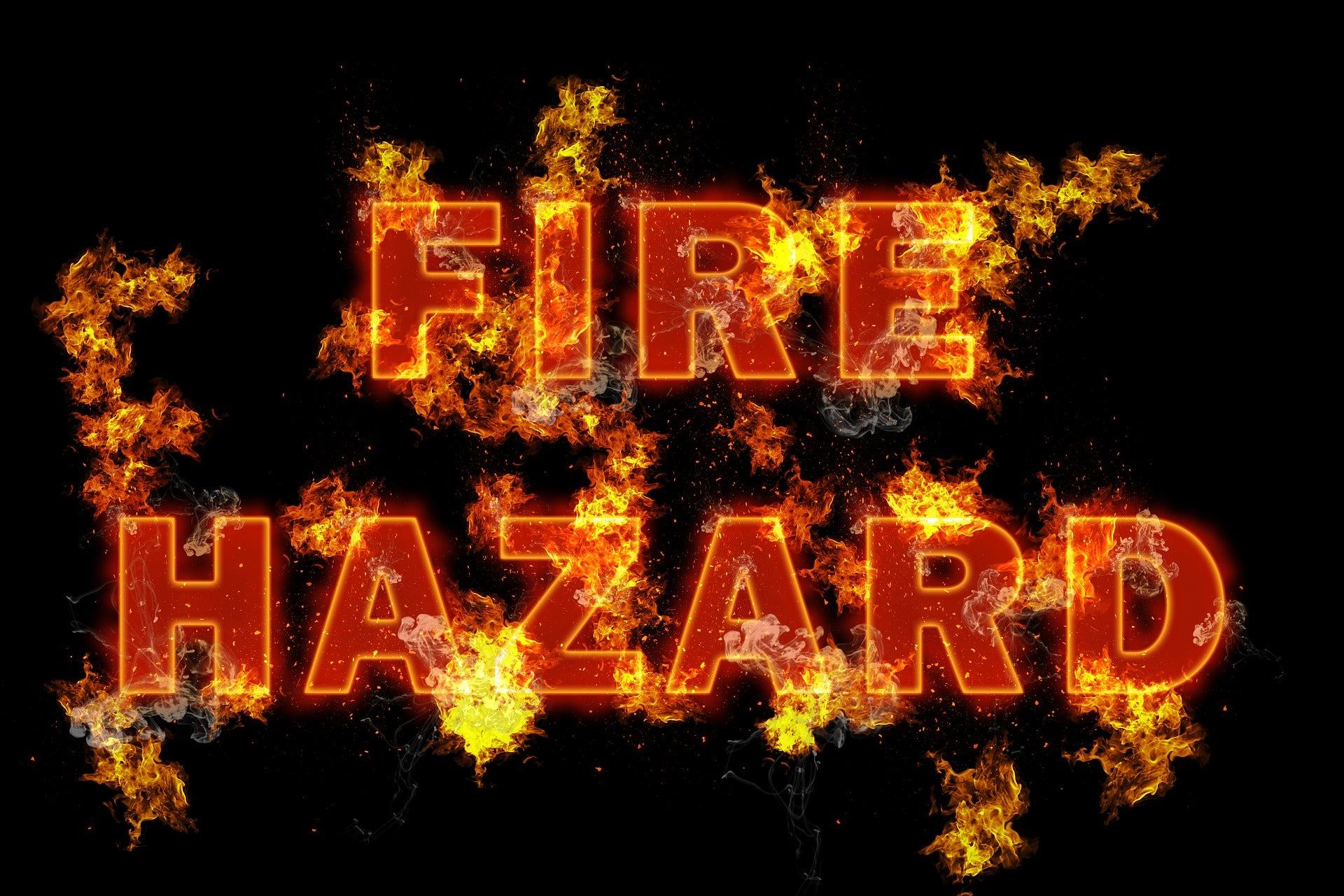 Fire hazard sign. Lab coats protect you from fire.