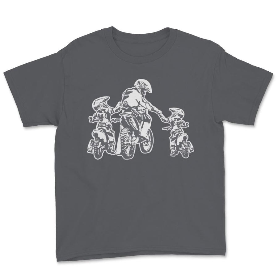 Father And Two Children Motocross Family Unisex Youth T-Shirt
