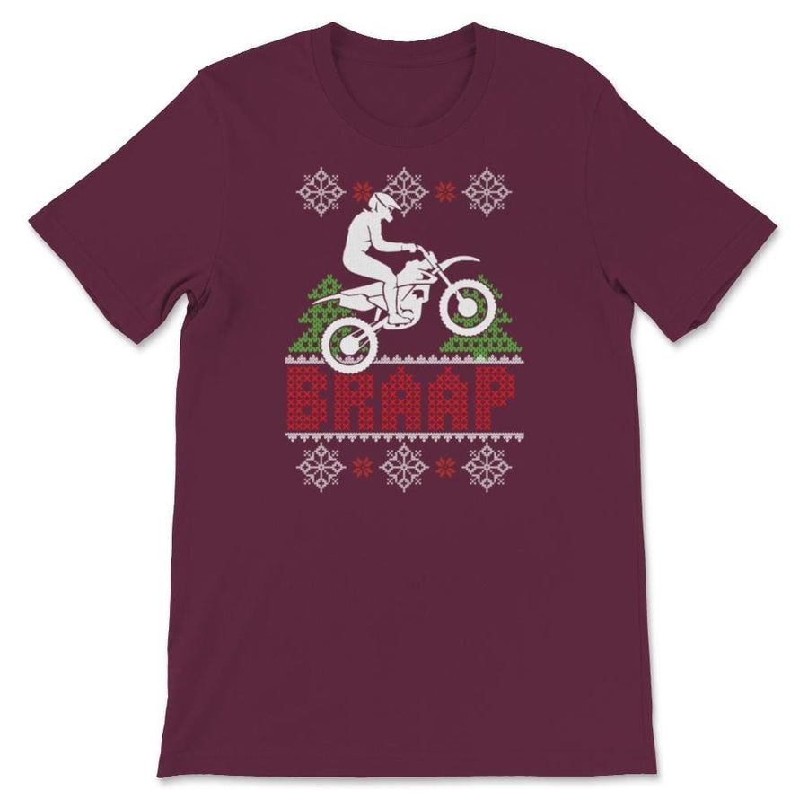 Braaap Motocross Ugly Christmas Dirt Bike Unisex Premium T-Shirt