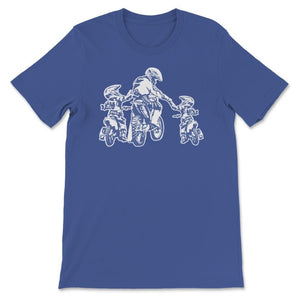 Father And Two Children Motocross Family Unisex Premium T-Shirt