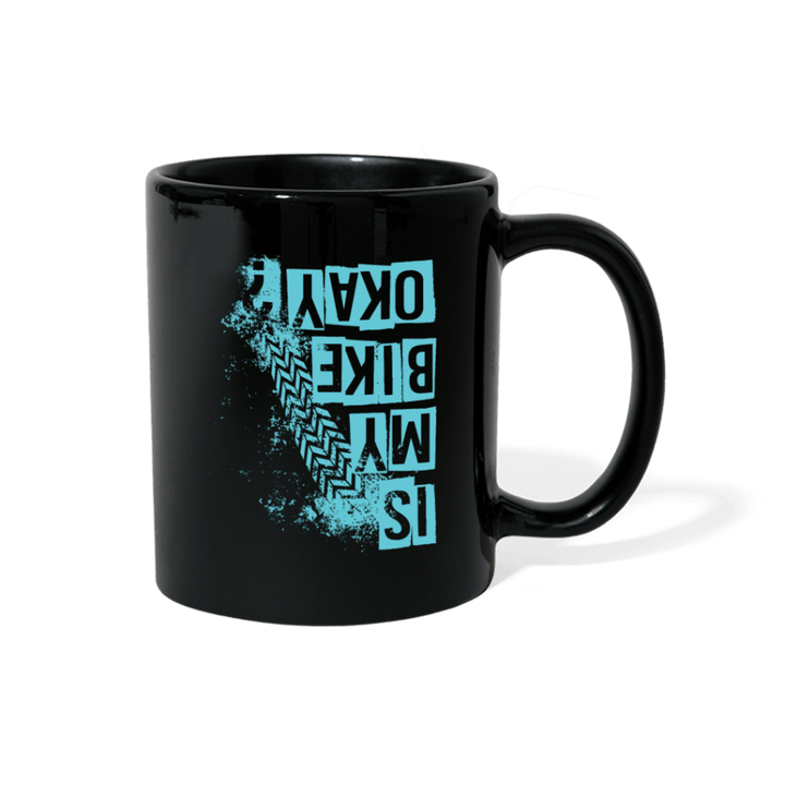Is My Bike Okay? Blue Mug - black