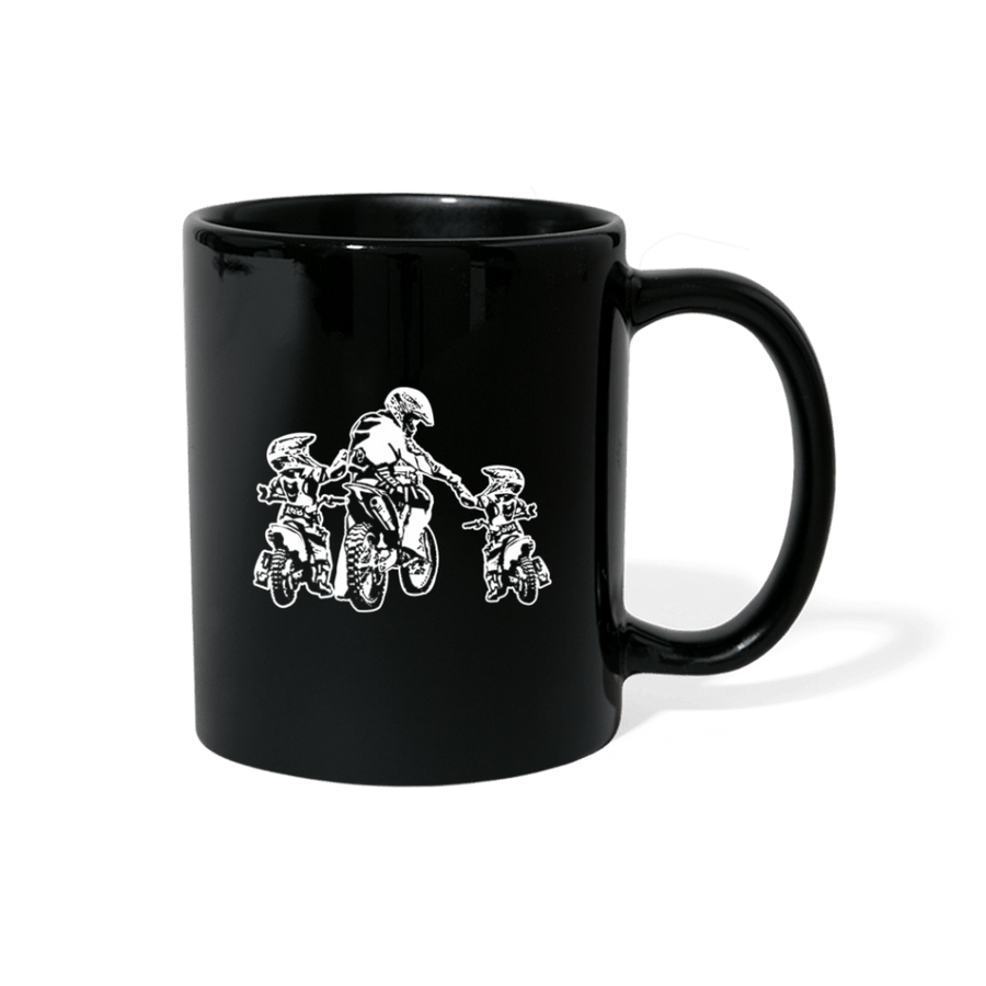 Father And Two Kids Motocross Mug - black